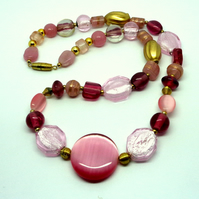 Glass bead necklace pinks & golds