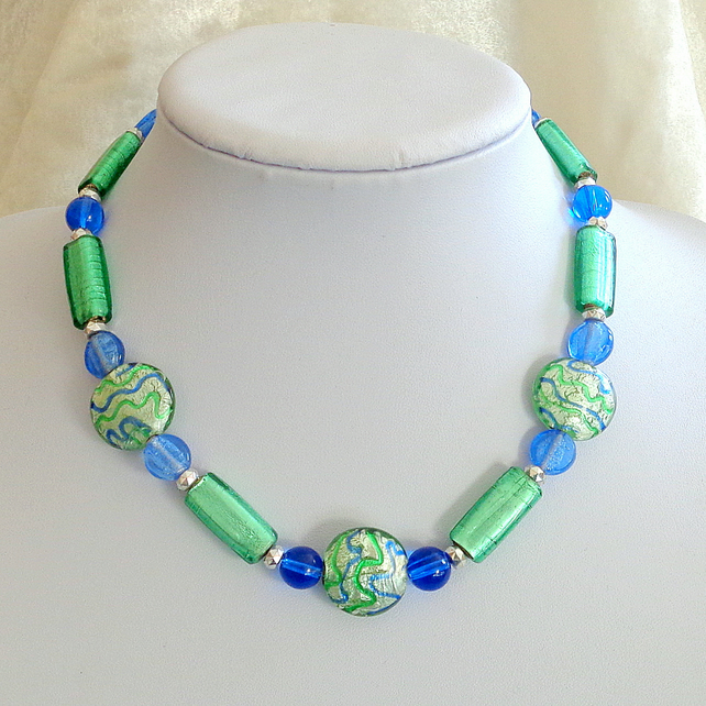 Glass bead necklace in sky blue & peppermint