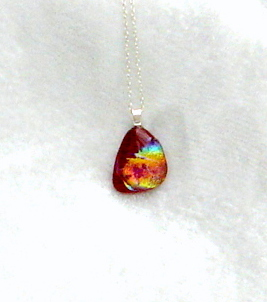 "Dichroic fused glass pebble pendant ""Fireside"""
