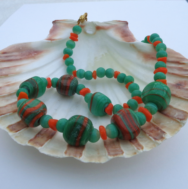 Necklace of tangerine & green beads