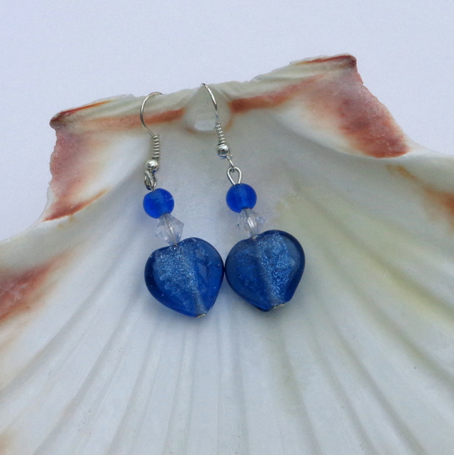 Glass heart earrings in cornflower blue
