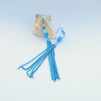 Turquoise & blue chain-tassel dangly earrings