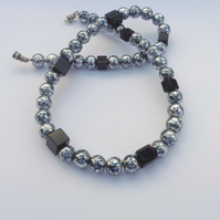 Black and silver crackled glass bead necklace