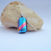 Small turquoise blue dichroic glass pendant Pink ribbon