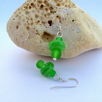 Lampwork and frosted bright green glass earrings with sterling silver