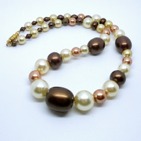 Glass pearl necklace in shades of coffee and cream