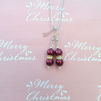 Christmas Red glass pearl beads with a shiny gold & silver trim drop earrings