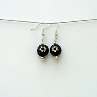 Bobbly bauble sparkly black & silver drop earrings