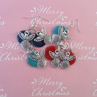 Christmas 3 sets pretty angel novelty drop earrings red, blue & teal