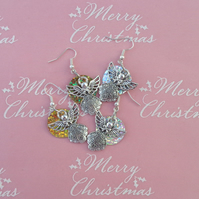 Christmas 2 sets pretty angel novelty drop earrings silver & gold