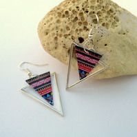 Silver triangle geometric aztec pattern dangle multicoloured earrings