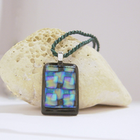 Dichroic glass pendant Double cross