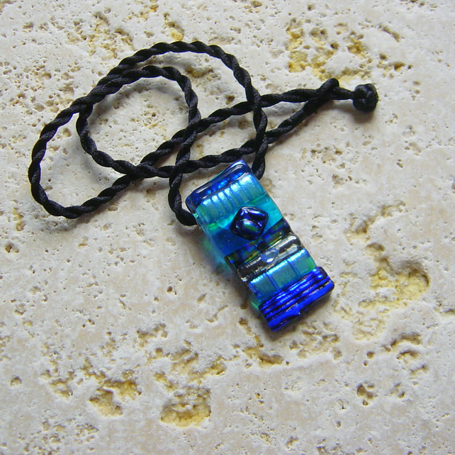 Dichroic Glass pendant Shiny blue