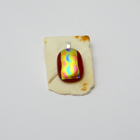 Dichroic Glass Pendant Red Curves