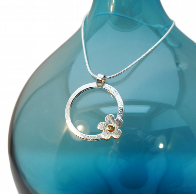Small Flower on a Hoop necklace