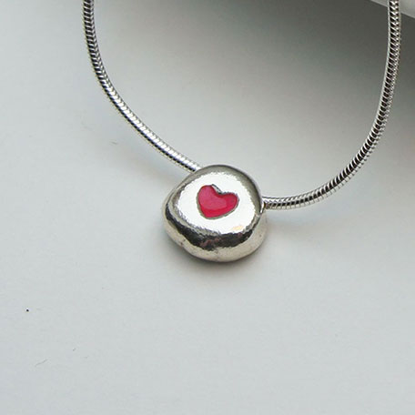 Silver Necklace, Tiny pink heart pebble necklace