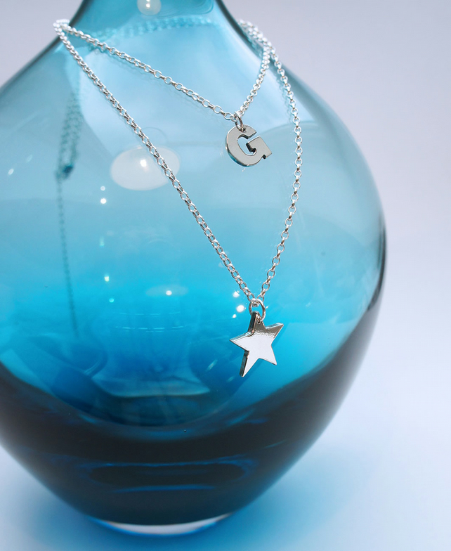 Star and Initial Double Necklace