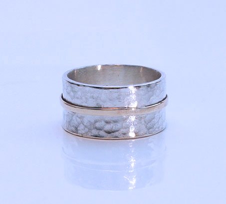 Sterling silver and 9ct Gold Stripe Ring, hammered ring