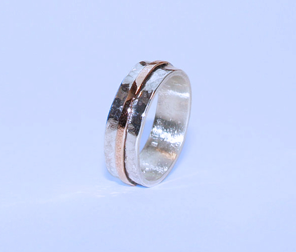Sterling Silver ring - Slim Silver and Rose Gold Stripe Ring