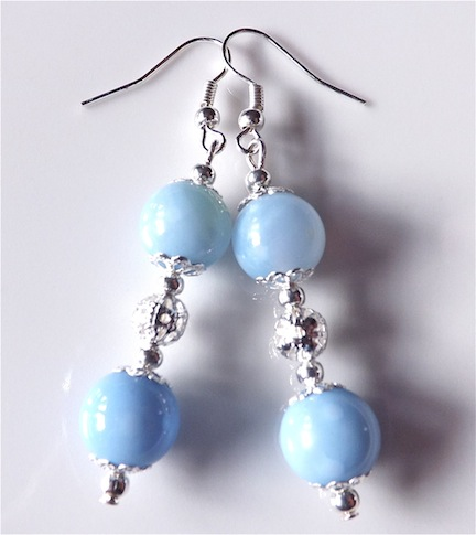 Earrings for pierced ears, exquisite blue agate gem stone dangle.
