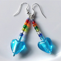 Rainbow dangles earrings for pierced ears, azur blue lampwork heart.