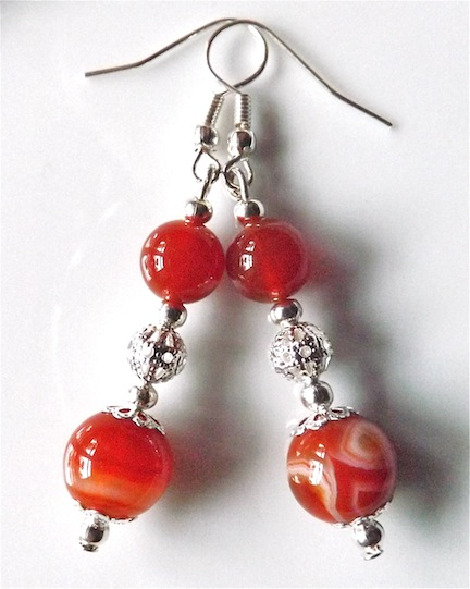 Earrings for pierced ears, rich red banded agate gem stone dangle.