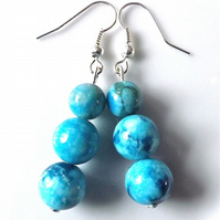 Earrings for pierced ears, exquisite blue grass jasper gem stone dangle.
