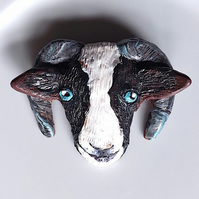 Jacob sheep brooch, badge, original in fired polymer clay, hand sculptured.