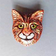 Cat brooch, badge, quirky tabby, original in hand sculptured polymer clay.