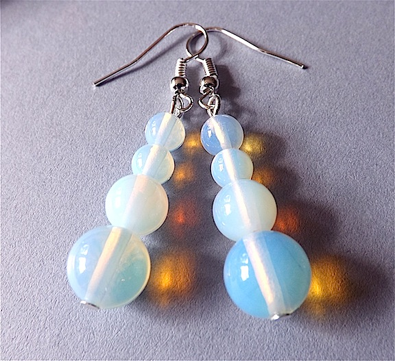 Earrings for pierced ears, sensational moonstone dangle.