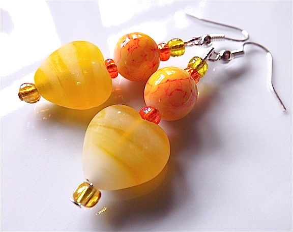 Rainbow dangles earrings for pierced ears, yellow lampwork heart.