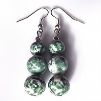 Earrings for pierced ears, fabulous green spot jasper gem stone dangles.