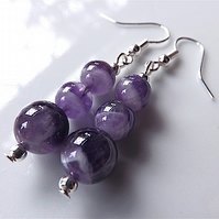 Earrings for pierced ears, fabulous Sage Amethyst gem stone dangles.