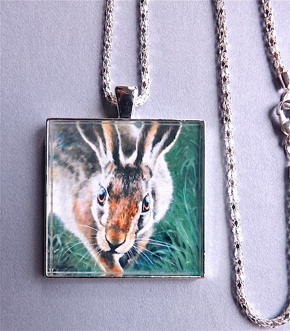 "Brown Hare pendant "" A close encounter "" from original art work."