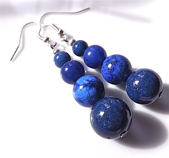 Earrings for pierced ears, exquisite blue lapis lazuli gem stone dangle.