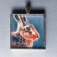 "Brown Hare pendant "" Hare Portrait "" from original art work."