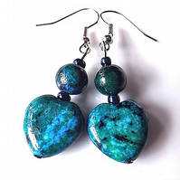 Earrings for pierced ears, Azurite chrysocolla gem stone  heart dangles.