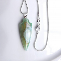 Banded agate gem stone pendant arrowhead on snake chain.