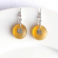 Amber sea glass dangle earrings, for pierced ears.