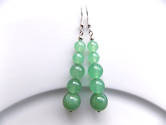 Earrings for pierced ears, beautiful aventurine gem stone dangle.