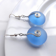Sky blue coloured sea glass dangle earrings, for pierced ears.