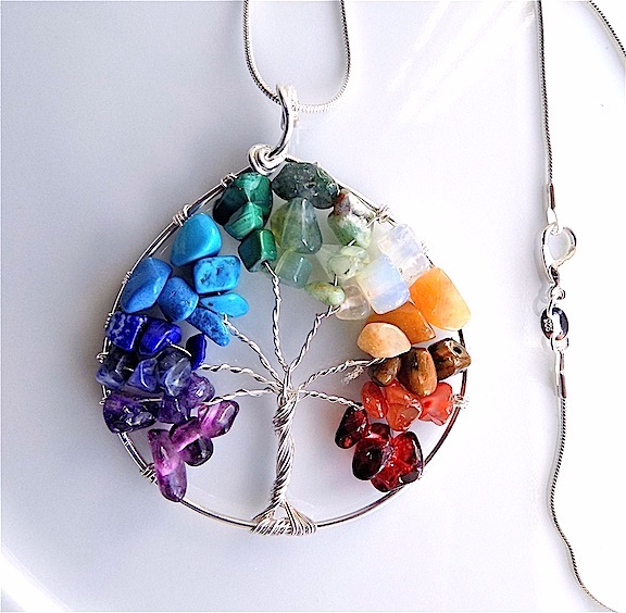 Gem stone chakra tree of life, rainbow colours on snake chain.