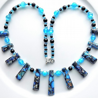 Gem stone necklace blue sea sediment jasper pendant drops with cats eye opals.