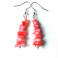 Earrings for pierced ears, sensational pink branch coral dangles.