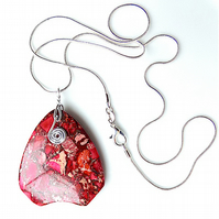 Sea sediment jasper pendant necklace, 925 silver snake chain with lobster clasp.
