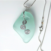 Chunky sea glass pendant, on snake chain, soft sea foam green.