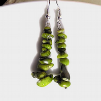 Earrings for pierced ears, sensational green coral dangles.