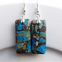 Earrings for pierced ears, sea sediment jasper gem stone dangles.