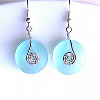 Sea foam coloured sea glass dangle earrings, for pierced ears.