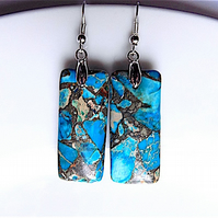 Blue sea sediment jasper dangle earrings, for pierced ears.